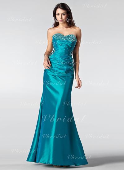 マーメイド 袖なし ラッフル ビーズ スパンコール Taffeta プロム用ドレス (018002510)