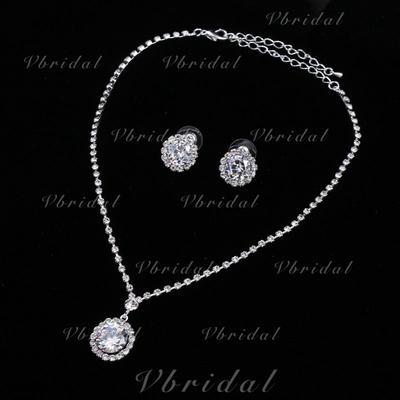 Jewelry Sets Alloy/Rhinestones Rhinestone Lobster Clasp Pierced Wedding & Party Jewelry (011167863)