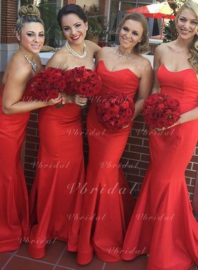 Trumpet/Mermaid Sweetheart With Satin Bridesmaid Dresses (007146971)