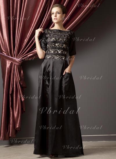 Chic Escote redondo Corte A/Princesa Charmeuse Vestidos de madrina (008211349)