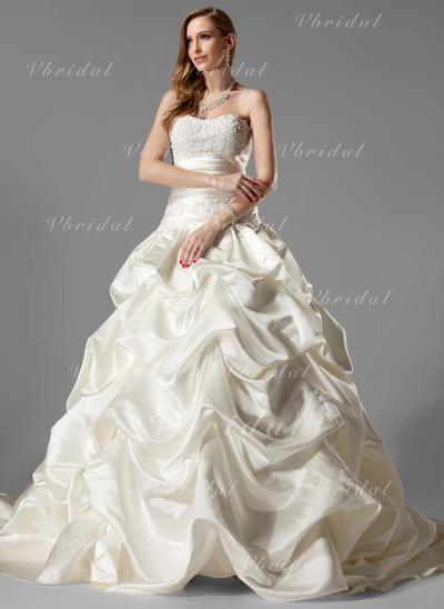 Volantes Encaje Sin mangas Corte de baile - Satén Vestidos de novia (002000451)