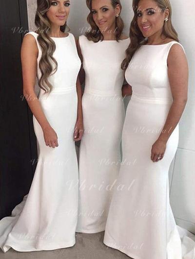 Scoop Neck General Plus Trumpet/Mermaid Satin Sleeveless Bridesmaid Dresses (007145012)