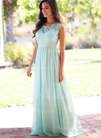 A-Line/Princess Chiffon Lace Sleeveless Bridesmaid Dresses (007145060)