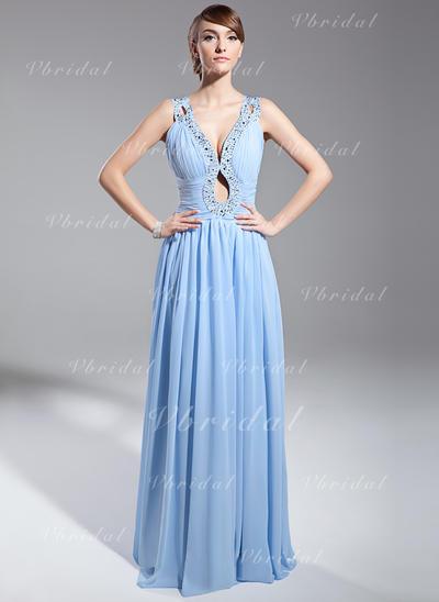 Elegante Gasa Corte A/Princesa Cremallera Vestidos de noche (017014691)