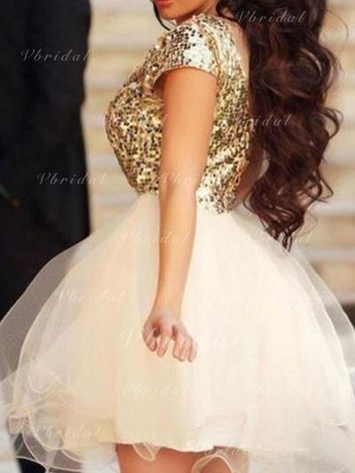 Corto/Mini Corte A/Princesa Escote redondo Tul Baile de promoción (016145287)