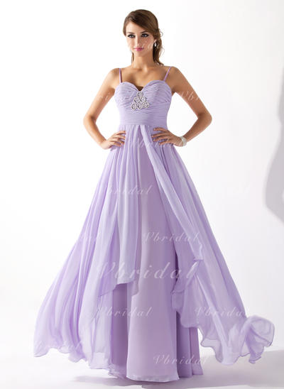 Aライン/プリンセスライン2 袖なし ラッフル ビーズ シフォン プロム用ドレス (018004835)