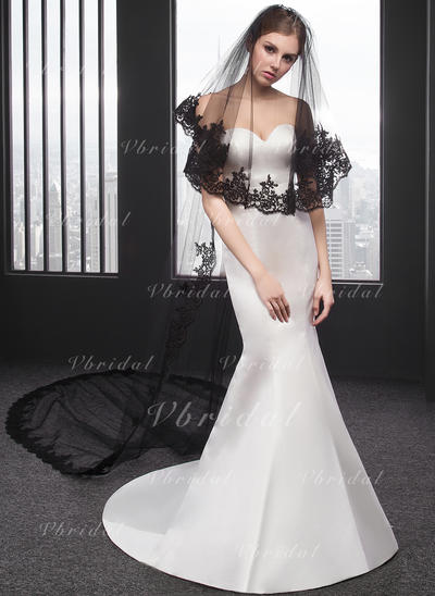 Chapel Bridal Veils Two-tier Oval With Lace Applique Edge With Lace Wedding Veils (006152551)