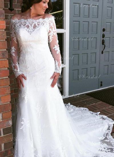 Mangas largas Corte trompeta/sirena - Tul Encaje Vestidos de novia (002144917)