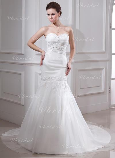 サテン オーガンザ マーメイド とともに Luxurious ウエディングドレス (002000325)