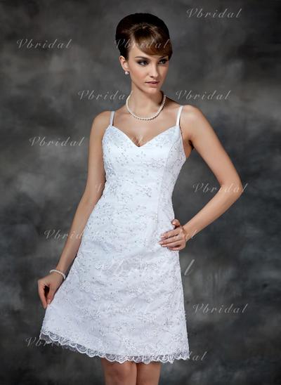 Encaje Sin mangas Vestido tubo con Delicado Vestidos de novia (002000222)