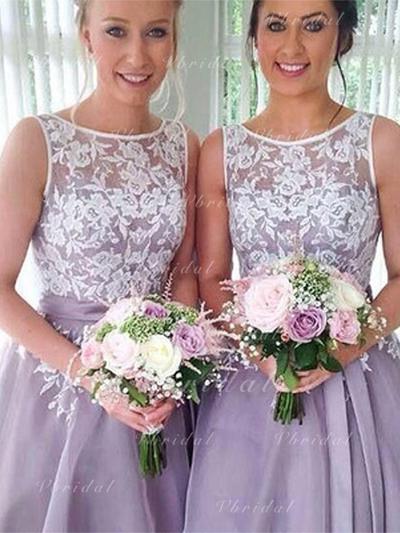 A-Line/Princess Organza Bridesmaid Dresses Sash Appliques Scoop Neck Sleeveless Knee-Length (007219270)