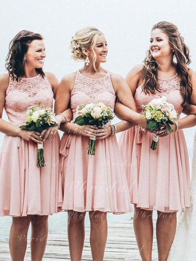 Scoop Neck A-Line/Princess Chiffon Lace Sleeveless Bridesmaid Dresses (007145044)