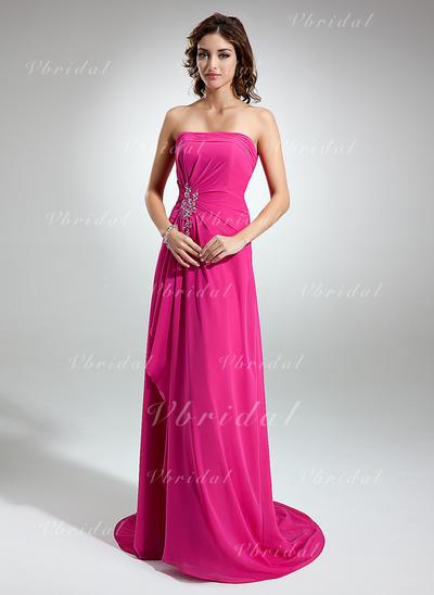 A-Line/Princess Strapless Beading Appliques Cascading Ruffles Chiffon Bridesmaid Dresses (007001752)