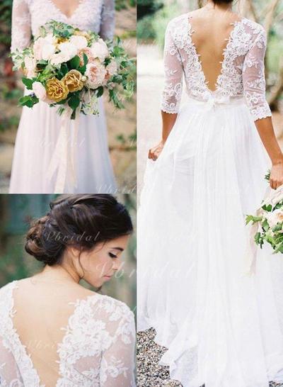 Hasta el suelo Cuello de pico con Gasa Vestidos de novia (002146264)