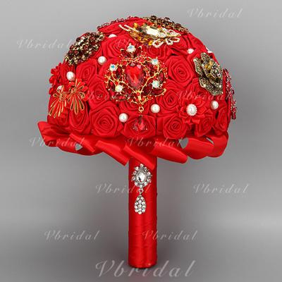 "Bridal Bouquets Round Wedding Satin 10.24""(Approx.26cm) Wedding Flowers (123190164)"