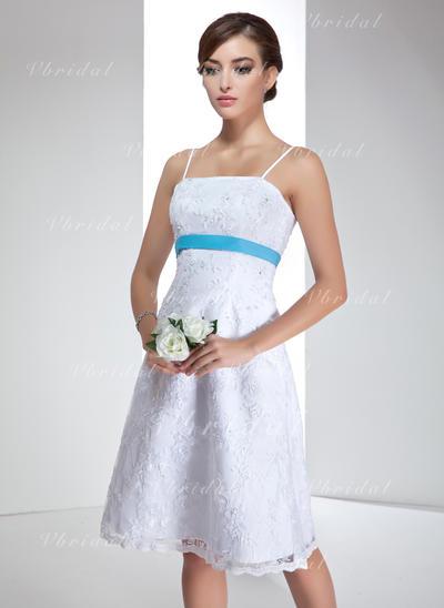 Corte imperial Fajas Cuentas Lentejuelas Lazo(s) Encaje Hasta la rodilla Tres dimensiones Vestidos de novia (002000020)