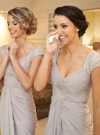 Vestido tubo Escote en V con Jersey Dama de honor (007146680)