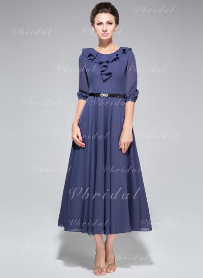 Corte A/Princesa Escote redondo Gasa Chic Vestidos de madrina (008211509)