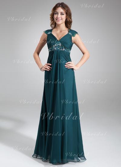 Corte A/Princesa Gasa Halagador Escote en V Vestidos de madrina (008211023)