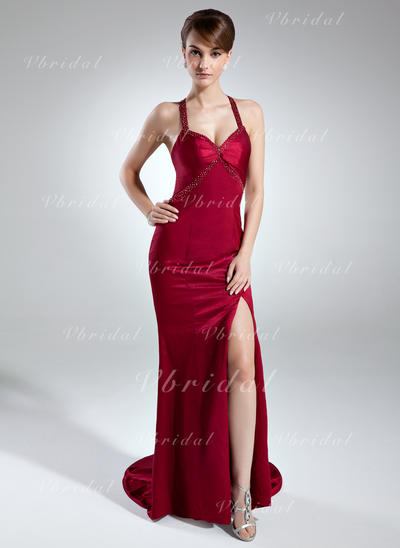 マーメイド Charmeuse 恋人 袖なし イブニングドレス (017016015)