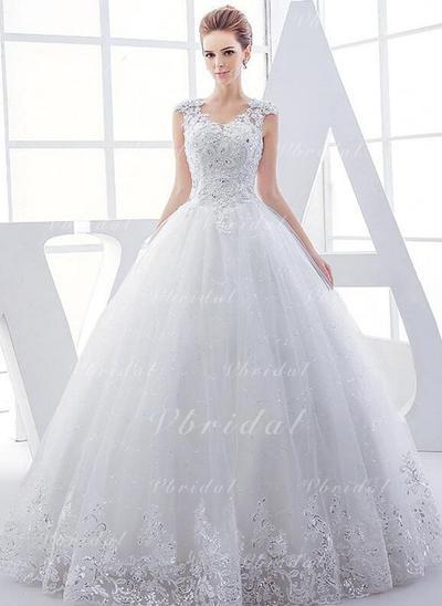 Lujoso Cuentas Los appliques Encaje Lentejuelas Corte de baile con Tul Vestidos de novia (002147918)