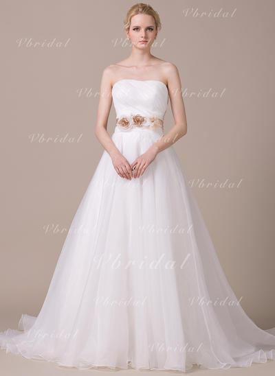 Sin tirantes Sin mangas Corazón con Organdí Vestidos de novia (002210577)