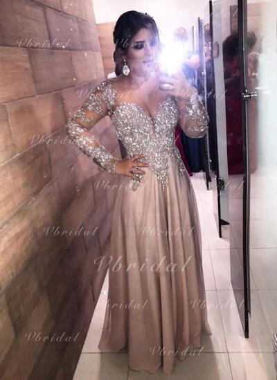 Novísimo Gasa Vestidos de noche con Escote en V Corte A/Princesa (017145740)