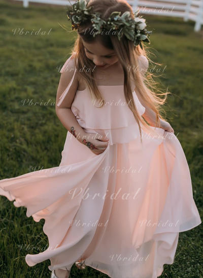 Escote Cuadrado/Correas de hombro Corte A/Princesa Vestidos para niña de arras Volantes Sin mangas Hasta el suelo (010148150)