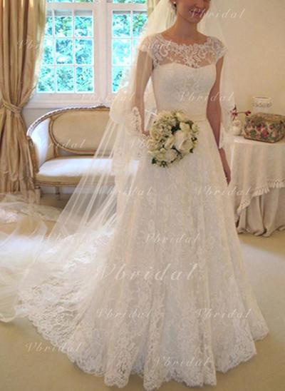 Sencillo Fajas Lazo(s) Corte A/Princesa con Encaje Vestidos de novia (002147868)