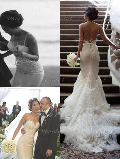 Sencillo Encaje Corte trompeta/sirena con Satén Vestidos de novia (002147993)