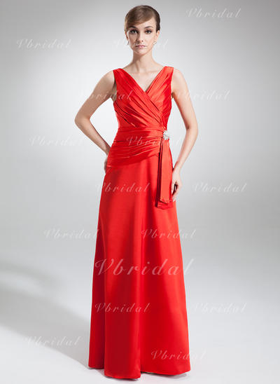 Chic Escote en V Corte A/Princesa Charmeuse Vestidos de noche (017002579)