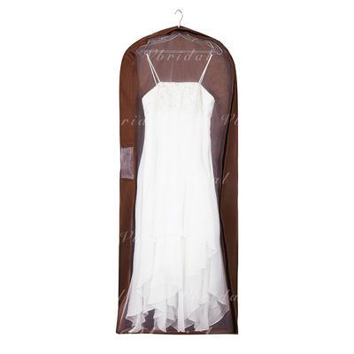 Garment Bags Dress Length Side Zip Tulle/Nonwoven Fabric Chocolate Wedding Garment Bag (035192302)