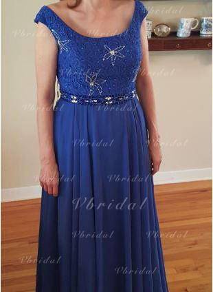 A-Line/Princess Scoop Neck Chiffon Chic Mother of the Bride Dresses (008212795)