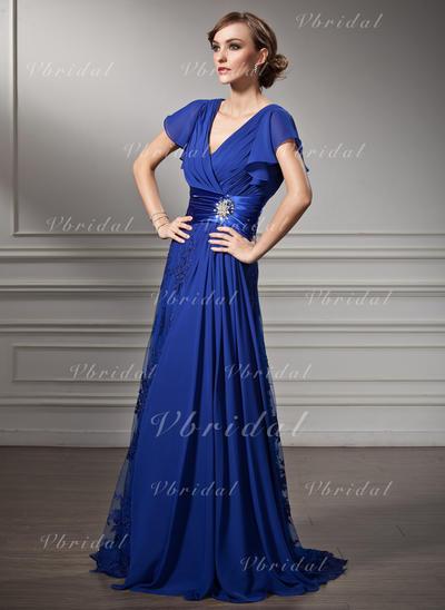 ビーズ カスケードフリル Vネック Fashion シフォン レース ミセスドレス (008005755)