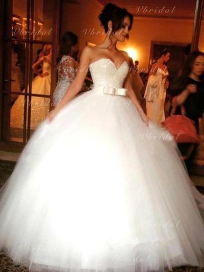 Corazón Corte de baile Vestidos de novia Tul Cuentas Lentejuelas Lazo(s) Sin mangas Hasta el suelo (002144846)