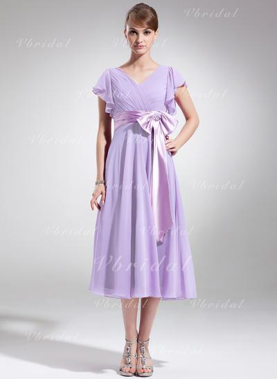 Deslumbrante Gasa Escote en V Corte A/Princesa Vestidos de madrina (008006070)