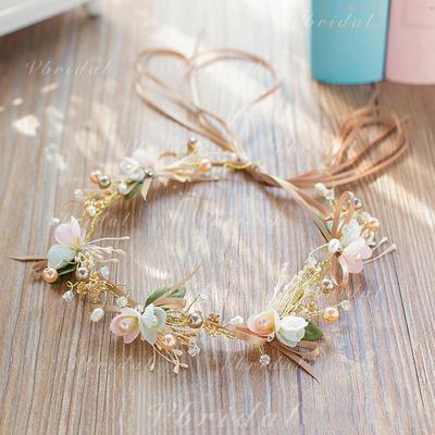 """Diademas Boda/Fiesta Rhinestone/La perla de faux/Flores de seda 13.78""""(Aprox.35cm) 1.97""""(Aprox.5cm) Cintillos (042120245)"""