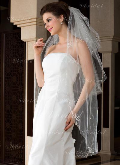 Yema del dedo velos de novia Tul Tres capas Estilo clásico con Corte de borde Velos de novia (006036614)