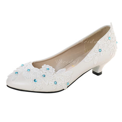 Women's Closed Toe Pumps Low Heel Leatherette With Imitation Pearl Stitching Lace Flower Lace-up Wedding Shoes (047207447)