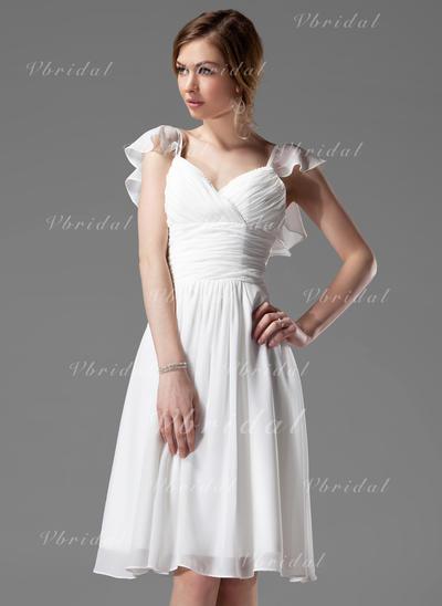 Elegant Vネック Aライン/プリンセスライン2 袖なし シフォン ブライドメイドドレス (007004117)
