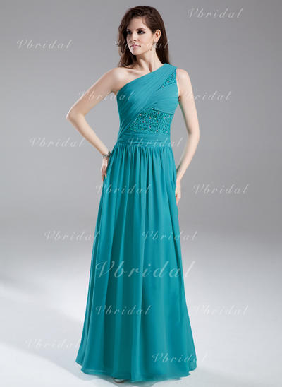 Aライン/プリンセスライン2 シフォン ワンショルダー 袖なし イブニングドレス (017015857)