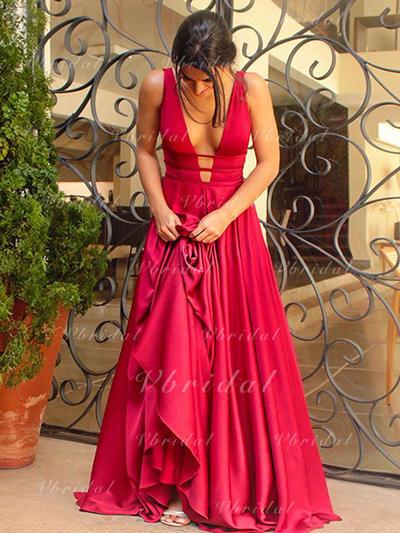 Sin mangas Escote en V Charmeuse Princesa Vestidos de baile de promoción (018145963)