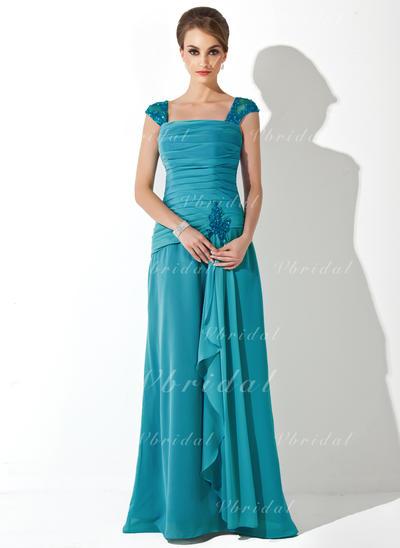 Newest シフォン スクエアネック Aライン/プリンセスライン2 ミセスドレス (008006222)