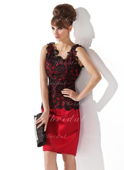 Magnificent サテン レース スクープネック シース ミセスドレス (008006063)