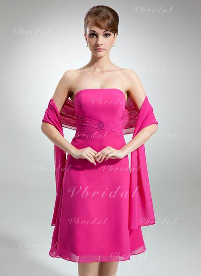 Aライン/プリンセスライン2 ストラップレス ラッフル ビーズ シフォン ブライドメイドドレス (007001814)