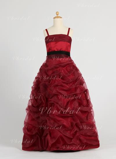 Corte de baile Hasta el suelo Organdí/Satén - Lujoso Vestidos para niña de arras (010005794)