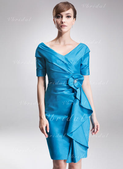 Elegant Taffeta オフショルダー シース ミセスドレス (008006275)