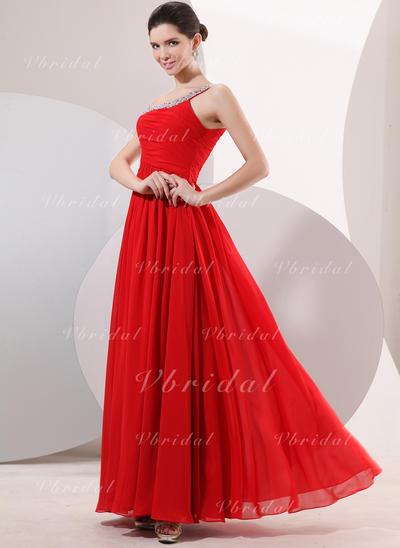 Princess ワンショルダー Aライン/プリンセスライン2 シフォン イブニングドレス (017014052)