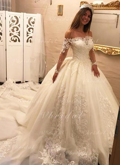 Corte de baile Tul Encaje Mangas largas Por debajo del hombro Tren real Vestidos de novia (002147800)