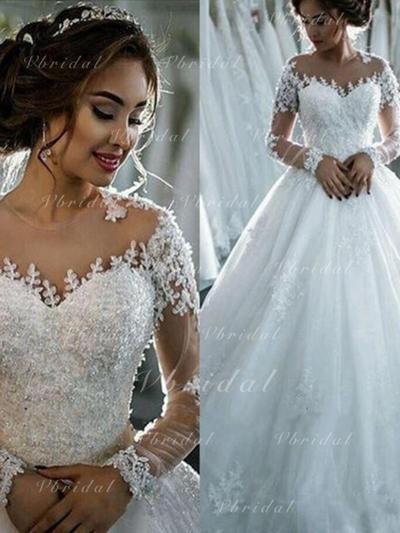 Novísimo Cuentas Los appliques Encaje Lentejuelas Corte de baile con Tul Vestidos de novia (002147917)